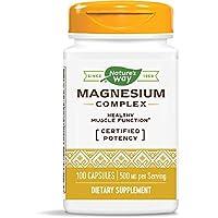 Nature's Way Premium Magnesium Complex Supplement, 500 mg per Serving, 100 Capsules