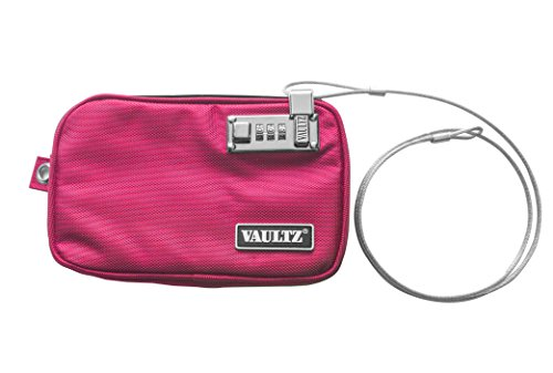 "Vaultz Small Locking Electronics Pouch, 5 x 8"", Pink (VZ03432)"