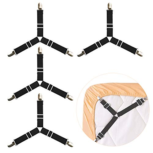 Luxsego 4Pcs Bed Sheet Holder, Adjustable Fasteners Suspenders Gripper, Triangle & Elastic Straps Clips for Various Bed Sheets, Mattress Covers, Sofa Cushion, Hospital Beds, Inflatable Beds