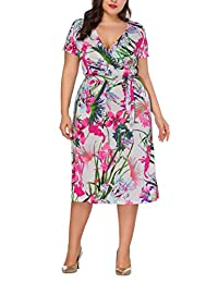 Bewish Womens Summer Casual Floral Printed Short Sleeve V-Neck Maxi Knee-High Dress