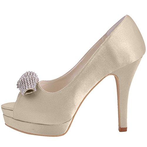 satén Beige de Vestir Elegantpark de Champagne Zapatos Mujer wIaSqH