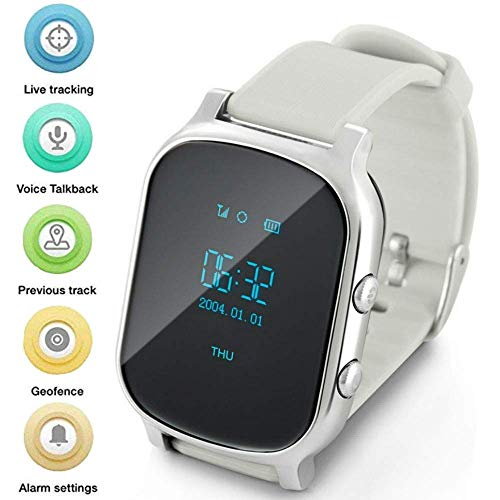 Gps Watch For Kids Seniors, Smart Watch Phone Gps Tracker With Anti Lost SOS Call Location Finder Pedometer GPS LBS Real Tracking On APP Support Android IOS T58