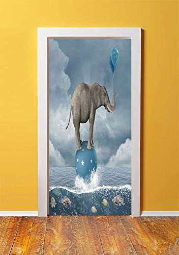 Quirky Decor 3D Door Sticker Wall Decals Mural Wallpaper,Elephant with Balloons on Sea Fish Fantasy Circus Animal Balance Surreal Decorative,DIY Art Home Decor Poster Decoration 30.3x78.8989,Blue Whit