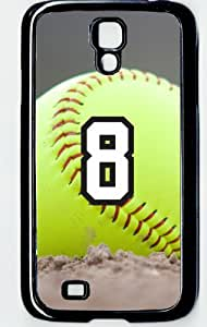 Softball Sports Fan Player Number 8 Decorative Black Rubber Samsung Galaxy S4 Case