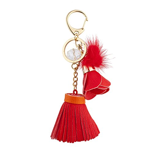 - Lux Accessories Goldtone and Red Tassel Flower Pom Novelty Keychain Bag Charm