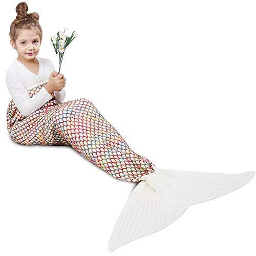 AmyHomie Mermaid Tail Blanket, Mermaid Blanket Adult Mermaid Tail Blanket, Crotchet Kids Mermaid Tail Blanket for Girls (White, Kids)