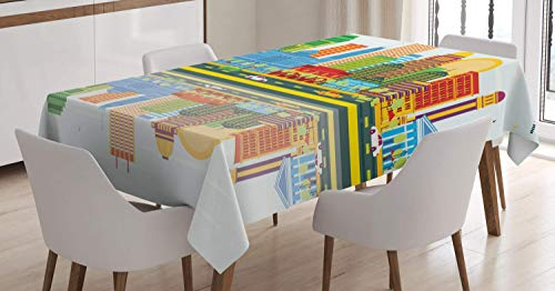 VAMIX Kentucky Tablecloth, Colorful City Love Themed Pattern with Dotted Louisville Lettering Travel Concept, Dining Room Kitchen Rectangular Table Cover, 60 W X 84 L Inches, Multicolor ()