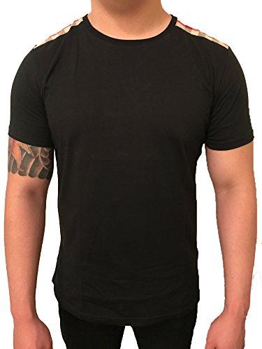 Burberry+Patch+Shoulder+Plaid+Nova+Check+Men+T-shirt+%28Large%2C+Black%29