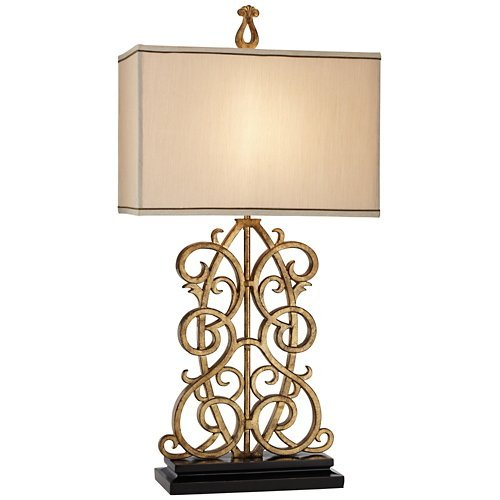 (Jardin Gate Antique Gold Leaf Scroll Table Lamp)