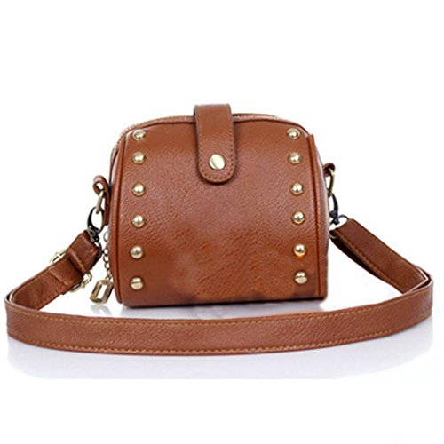 Price comparison product image ClearanceNevera Black Rivets Small Bag Brown Mini Bag Camera Bag Leather Shoulder Bag (Brown)