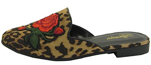 Paprika Women's Embroidered Floral Slip On Mule Loafer Slipper Flats (7.5 B(M) US, Tan Cheetah) - Floral Cheetah