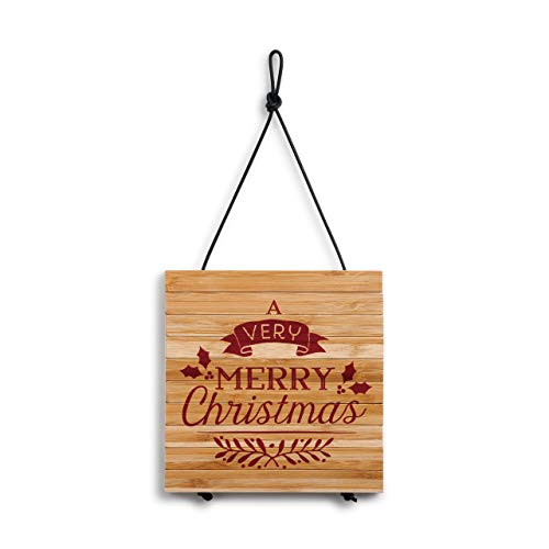 (Merry Christmas Rosy Red 8 x 8 Bamboo Wood Christmas Expandable)