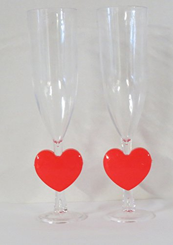 2 Valentine's Day Champagne Flutes, Red Plastic Heart on Stem