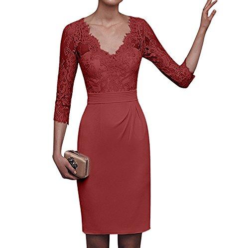 Formale Figurbetont Spitze Kurz Knielang Charmant Chiffon Ballkleider Abendkleider Partykleider Rot Dunkel Beige Damen X1gqwOZ
