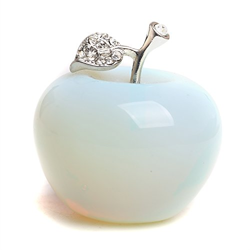 Opal Paperweight (Hongjintian 1.8Inches Artifical Opal Quartz Crystal Apple Figurine Statue Paperweight Craft Decoration)