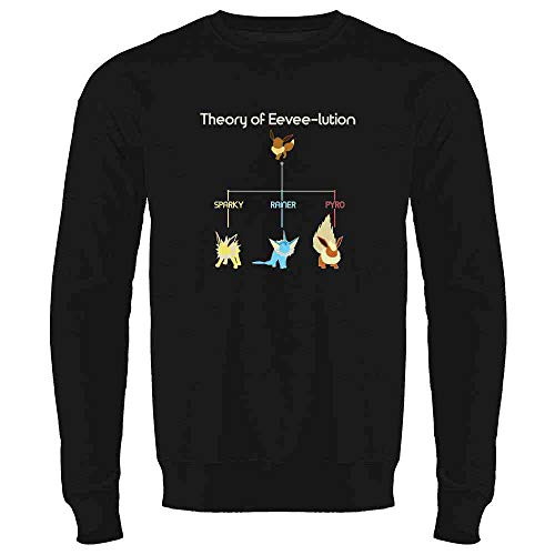 Theory of Eevee-lution Black L Mens Fleece Crew Sweatshirt ()