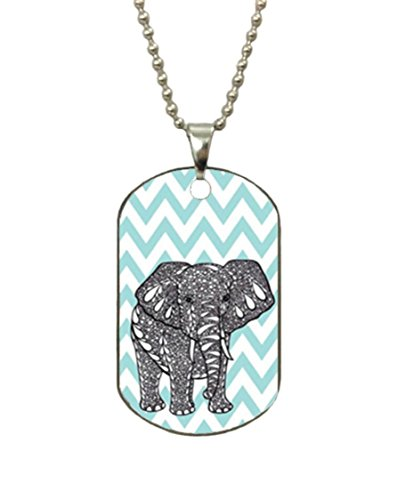 Change Tiffany Blue Chevron Elephant Custom Fashion Jewelry Stainless Steel Dog Tag Pendant - Tiffany Co Logo &