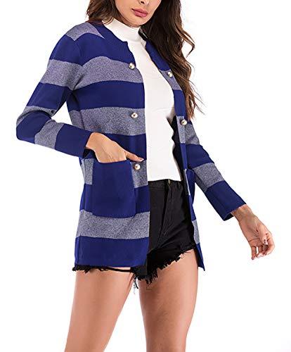 Botonadura Larga Casual Flecos Mujer Largos Elegantes Vintage Otoño Jerseys Mujeres  Invierno Redondo Azul Abrigo Anchos ... 14323ebea7d1