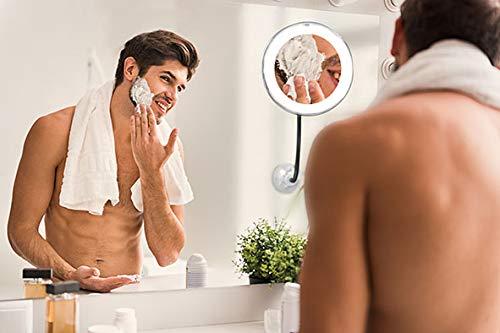 BEST DIRECT Perfect Mirror Original Come Visto in TV Specchio con Luce LED Ingrandimento x 10 Effetto Antiappannamento Braccio Estendibile 30cm e Rotazione a 360 Gradi per MakeUp Trucco Cura del Viso