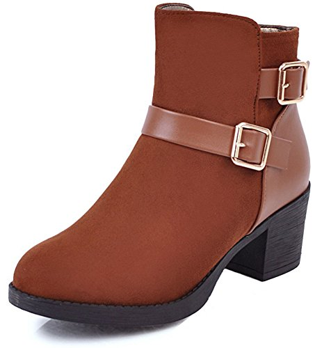 Women's Brown Belt High Zip Up Chunky Mid Boots Heel Ankle With Buckle Pretty Easemax dfqOPw8x6d