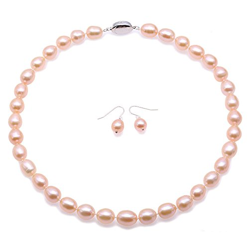 - JYX Pearl Necklace Set AAA Quality 10-11mm Pink Oval Freshwater Cultured Pearl Necklace & Dangle Earrings Sterling-Sliver Hook for Wedding Party Gift