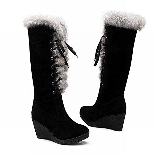 Show Shine Womens Fashion Platform Wedge Heel Lacing up Tall Boots Black uwDsF