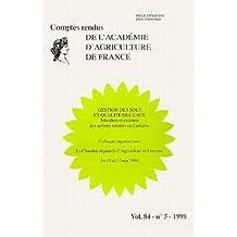 Vol.84 No.5-1998:gestion des Sols et Qualite des Eaux