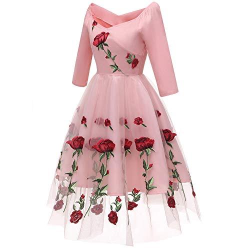 Donne Ad A Linea Partito Rosa Vestiti Di Cerimonia Pieghe Parola Autunno Pizzo Vestito Manica Da Swing Sera Ricamo Spalla Lunga Abiti Eleganti Lianmengmvp Vintage xQdWrBeCoE