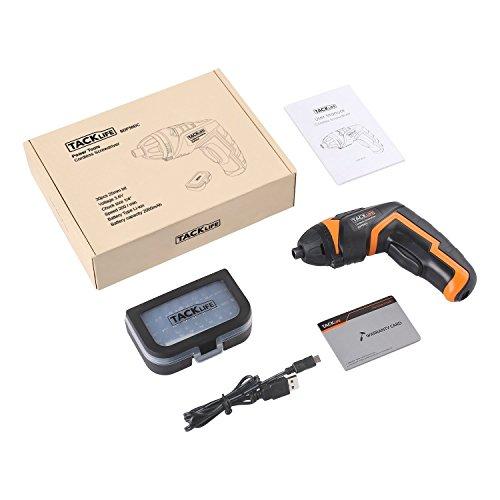 Tacklife SDP50DC Cordless Rechargeable Screwdriver 3.6-Volt 2000mAh Li-ion MAX Torque 4N.m - LED, 31pcs Driver Bits, USB Charging, USB Charging Cable