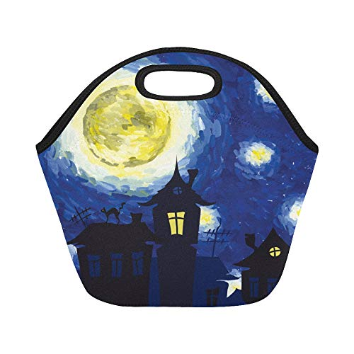 Land Of Nod Halloween (Insulated Neoprene Lunch Bag Magic Castle Starry Night Inn Style Of Halloween Large Size Reusable Thermal Thick Lunch Tote Bags For Lunch Boxes For Outdoors,work, Office,)