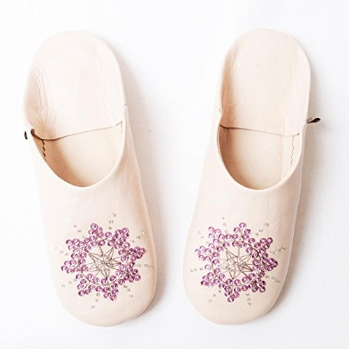 Dear Morocco Babouche Stella Sheepskin Slippers Sakura ( Light Pink) MKGWdft5