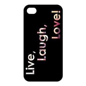 @ALL Funny laugh, live, love, quote, quotes Cover Case For Iphone 5 and 5S(Black) with Best Silicon Rubber