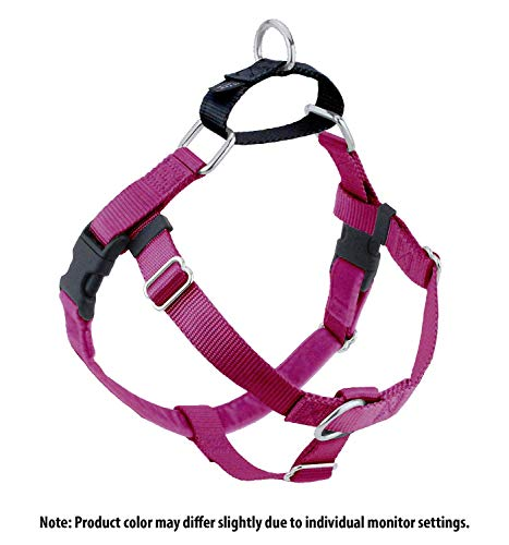 Wiggles Wags Whiskers Freedom No-Pull Dog Harness: Velvet Padding, Multi-function & USA Made! Lots of Sizes & Colors (Leash Not Included), Medium 1 Raspberry