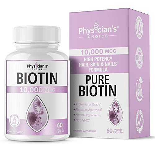 Biotin for Hair Growth 10000mcg [High Potency] Hair Skin and Nails Formula; Enhance Your Beauty Naturally with Dr. Formulated Biotin Supplement, Biotin Hair Growth Vitamins 60 Veggie Capsules