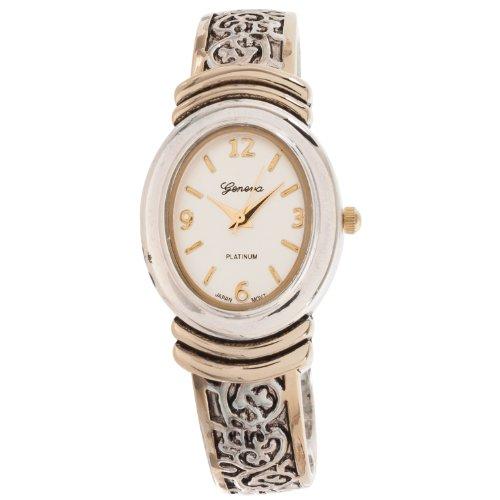 Platinum Geneva Bangle (Geneva Platinum Womens Oval Face Bangle Watch, Silver/Gold)