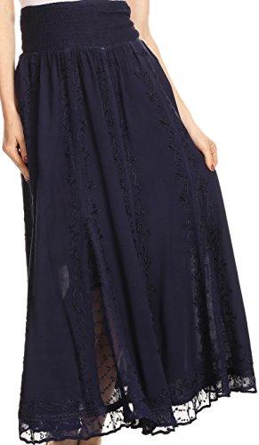 Sakkas 4679 - Monola Long Tall Lace Embroidered Paneled Adjustable Waist Flare Skirt - Navy - L