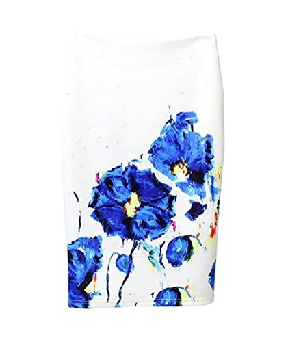 Haililais Femme Jupe Au Genou Slim Fit Jupe Imprimer Floral Vintage Femelle Skirt Taille Haute ElGant Jupe Fendue Tendance Jupe White2