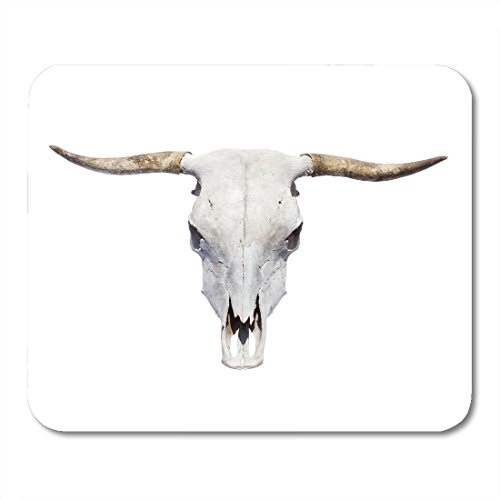 Horn Coral (Boszina Mouse Pads Animal White Cow Bull Skull Top View Longhorn Horn Mouse Pad for notebooks,Desktop Computers mats 9.5
