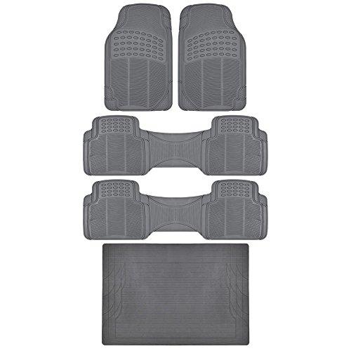 Odorless BPA FREE. Heavy Duty MotorTrend All Weather Gray Ridged Vinyl Truck SUV Van Floor Mats 5 pcs