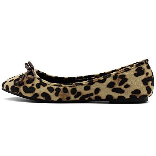 Ollio Femmes Chaussures Faux Daim Ruban Ballet Plat Léopard