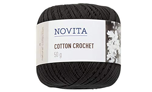 Novita Cotton Crochet Knitting Thread 50g Black (2 Pieces)