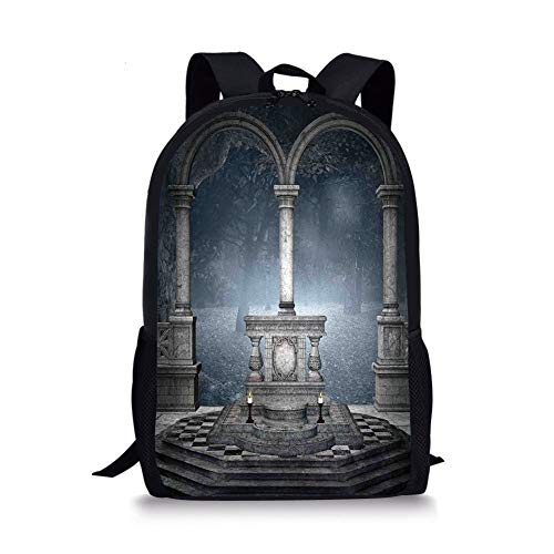 School Bags Gothic,Altar on Checkered Floor in Scary Hazy Winter Forest Spiritual Scenery Illustration,Blue Grey for Boys&Girls Mens Sport Daypack]()