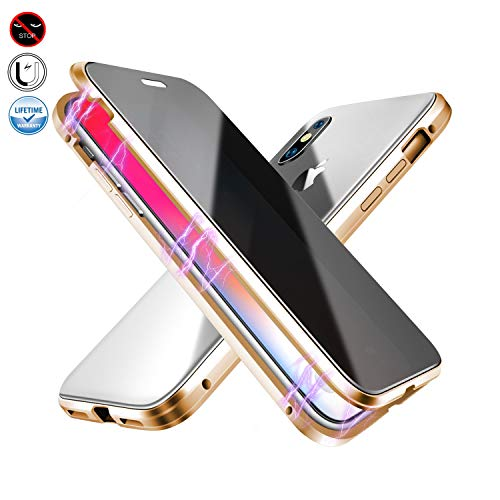 Anti-peep Magnetic Case for iPhone 7plus/8plus,Anti Peeping Magnetic Adsorption Double-Sided Privacy Screen Protector Clear Back Metal Bumper Antipeep Anti-Spy Phone Cases Cover for iPhone 7p/8p-Gold