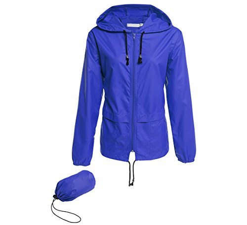 (Hount Fashion Woman Front-Zip Lightweight Rain Jacket Waterproof Rain Coat with Hood (L, Royal Blue))