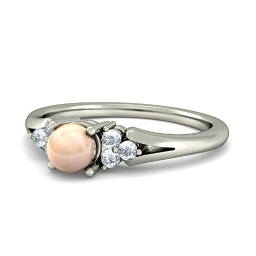 18 K Or Blanc, 0.09 carat Diamant Blanc (IJ | SI) Peach Perle et diamant Bague