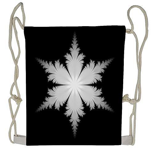WATINCFlagHomegg Fractal Snowflake Unisex Drawstring Bag Drawstring Backpack Sport Bag Gym Bag 100% Polyester Material Travel Bag for Men Women ()