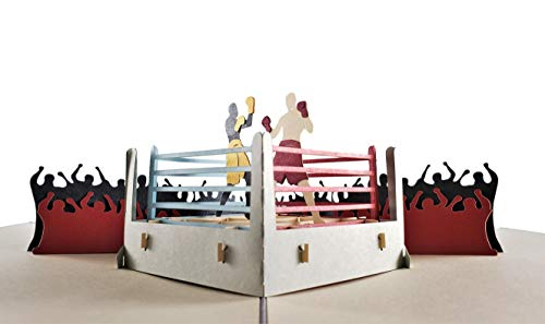 iGifts And Cards Boxing 3D Pop Up Greeting Card - Sports, Black, Fight, Crowds, Winner - Folds Flat - Fun, Just Because, Sports, Special Days