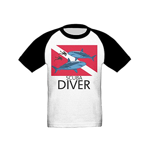 Scuba Divers With Sharks Unisex Kids Short Sleeve Baseball T Shirt Top 5-6 Toddler