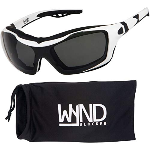 WYND Blocker Motorcycle Riding Glasses Extreme Sports Wrap Sunglasses (White/Smoke)