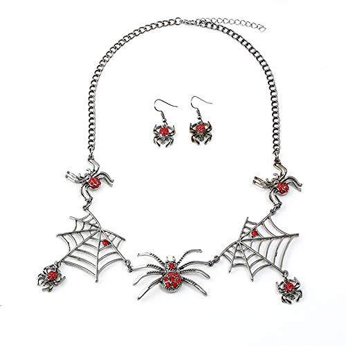 Ogquaton Collar de Las Mujeres Pendiente de Halloween Ara/ña Colgante Chica Collar de Cadena Ear Studs Partido Conjunto de Joyas de Boda Regalo de Amor Duradero